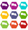 flag icon set color hexahedron vector image vector image