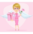 Girl in pink gives flowers and gift vector image