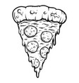 hand drawn cut pizza isolated on white vector image vector image