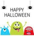 happy halloween three monster silhouette set head vector image vector image