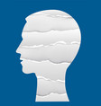head silhouette with torn paperbanner background vector image vector image