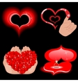 heart icons on the black vector image
