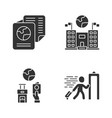 immigration glyph icons set embassy and consulate vector image vector image