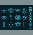 insects set icons blue glowing neon style vector image