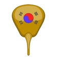 Korean hand fan icon cartoon style vector image