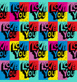 love you hand lettering pattern vector image vector image