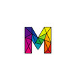 m colorful low poly letter logo icon design vector image