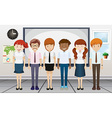 Man and woman standing in classroom vector image vector image