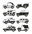 monochrome pictures of military vehicles vector image vector image