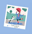 photo frame with girl splashing in puddle vector image