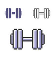 pixel icon dumbbell in three variants fully vector image vector image