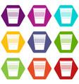 plastic office waste bin icon set color hexahedron vector image vector image