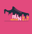 poster - running sport shoe and city vector image vector image