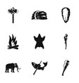 primitive icons set simple style vector image