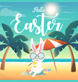 rabbit painted on the eggs at the beach vector image