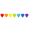 rainbow heart icon set line pattern lgbt sign vector image vector image