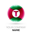 realistic letter t logo in colorful circle vector image vector image