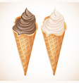 realistic vanilla and chocolate ice cream vector image