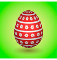 red easter egg with flowers and stripes vector image vector image