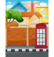 Scene with buildings and road vector image vector image