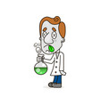 scientist kid holding test tube vector image vector image