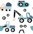 seamless childish pattern with hand drawn cars vector image