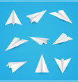 set a simple paper planes icon vector image