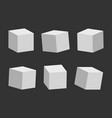 set gray cubes on dark background 3d model vector image