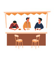street food counter and tent bar stools male vector image