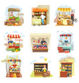 street vendor booth and farm market food counters vector image vector image