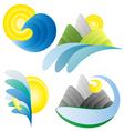 sun sea mountains summer holidays logos vector image