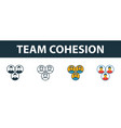 team cohesion icon set four elements in diferent vector image vector image