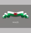 welsh flag wavy ribbon background vector image vector image