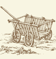 wooden empty cart vector image