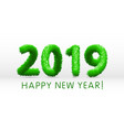 wooly green hairy shaggy wool 2019 happy new year vector image vector image