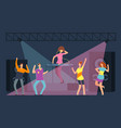 young people crowd dencing on dance floor cartoon vector image vector image