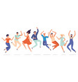 young people jump jumping teenagers group happy vector image vector image