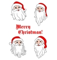 Smiling Santa Claus heads vector image