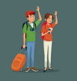 cartoon traveler couple happy with backpacks vector image