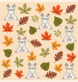 autumn seamless pattern with leaves and rabbits vector image vector image