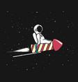 baby spaceman flying on firework rocket vector image vector image