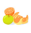 brakfast croissant green apple vector image