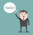 Businessman character saying hello vector image