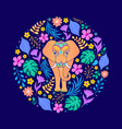 card with elephant and flowers vector image vector image