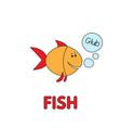 cartoon fish flashcard for children vector image vector image