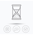 Chat speech bubble hourglass and check icons vector image