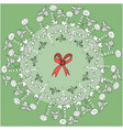 christmas wreath liner and color vector image vector image
