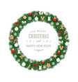 christmas wreath round frame decorated vector image vector image