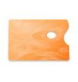 classic rectangle wooden artist palette on white vector image vector image