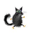 cute fluffy cartoon black cat coming on light vector image